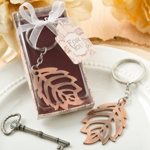 Copper Color Metal Fall Leaf Design Key Chain Favors image