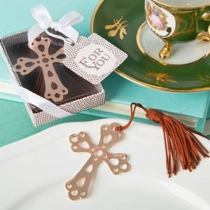 Rose Gold Metal Cross Book Mark Favors image