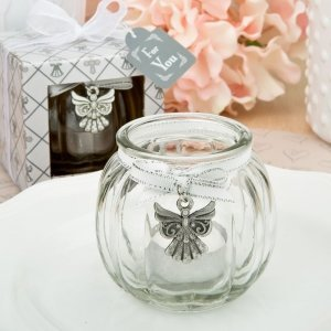 Angel Themed Clear Glass Round Globe Candle Holder image