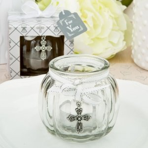 Cross Themed Clear Glass Round Globe Candle Holder image