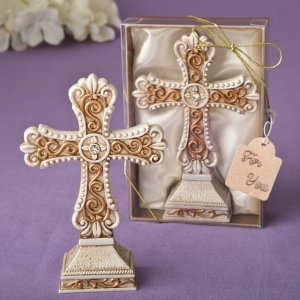 Antique Ivory Filigree Cross Statue image