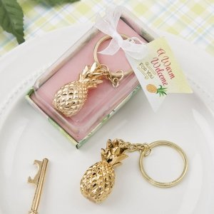 Gold Pineapple Themed Key Chain Favor image