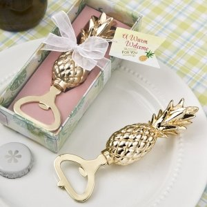 Gold Pineapple Themed Bottle Opener Favor image