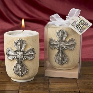Large Cross Design Tea Light Candle Holder Favor image