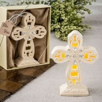 Glowing Ivory Color Standing Cross Statue with LED Lights