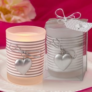 Silver Striped Glass Silver Heart Design Votive Candle Holde image