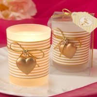 Gold Striped Heart Design Votive Candle Holder Favors