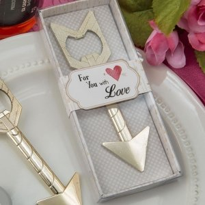 Cupids Arrow Gold Metal Bottle Opener Favors image