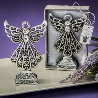 Pewter Finish Angel Statue with Antique Accents