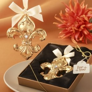 Fleur De Lis Design Shiny Gold Ornament Favors image