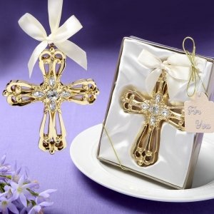 Majestic Gold Cross Ornament Favors image