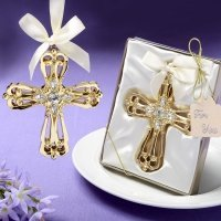 Majestic Gold Cross Ornament Favors