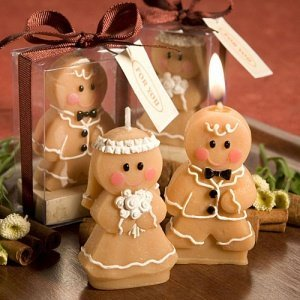 Cute Gingerbread Bride or Groom Candle Wedding Favors image