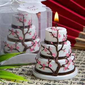 Cherry Blossom Cake Candle Wedding Favors image