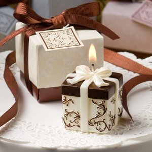 Chocolate and Ivory Damask Candle Box Favors image