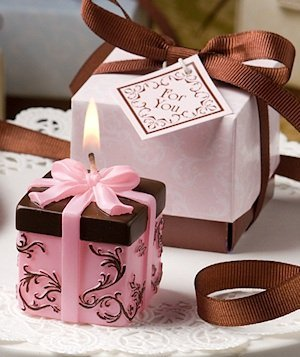 Chocolate and Pink Damask Candle Box Favors image