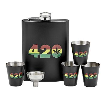 420 rasta flask set with shot glasses and funnel image