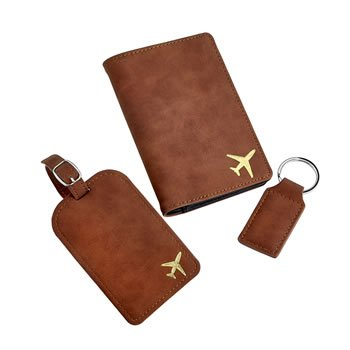 Fly with me collection - Deluxe Faux brown suede travel set image