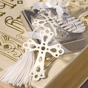 Silver Cross Bookmark Favors for Christenings image