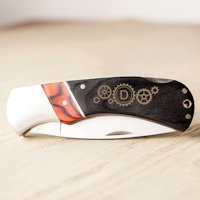 Personalized Steampunk Two-Tone Wood Handle Pocket Knife