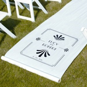 Personalized Art Deco White Aisle Runner image