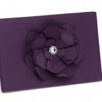Eggplant Floral Purple Wedding Guest Book
