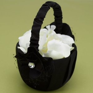 Black Floral Fantasy Flower Girls Basket image