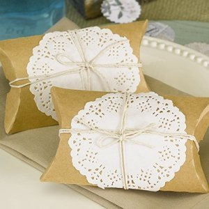 Kraft Pillow Box with Lace and Twine Kit (Set of 12) image