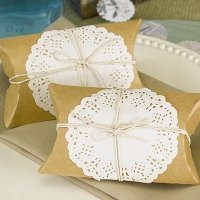 Kraft Pillow Box with Lace and Twine Kit (Set of 12)