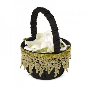 Golden Vintage Flower Girl Basket image