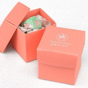 Mix and Match Two-Piece Coral Favor Boxes (Set of 25) image
