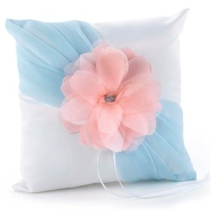 Pretty Petals Pastel Wedding Ring Pillow image