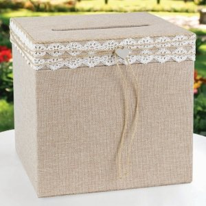 Rustic Romance Burlap Wedding Card Box image