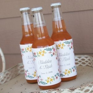 Personalized Retro Floral Wine Bottle Labels (Set of 50) image