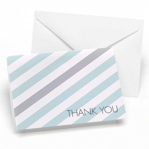 Aqua Blue & Slate Gray Striped Thank You Cards (Set of 50) image