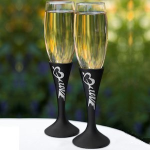 Love Chalk Rustic Toasting Flutes image