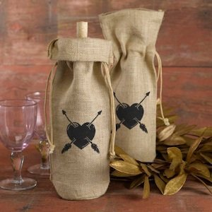 Heart & Arrows Burlap Wine Bag image