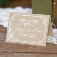 Country Blossom Thank You Cards for Weddings (Set of 50)