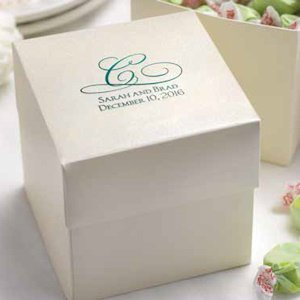 Ivory Personalized Cake or Cupcake Favor Boxes (Set of 25) image