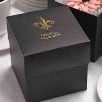 Black Wedding Cake Boxes - Personalized Option (Set of 25)