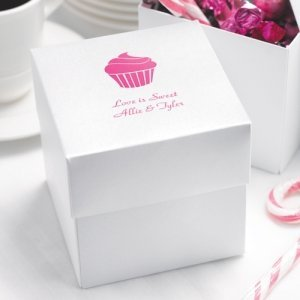 White Shimmer Personalized Cupcake Boxes (Set of 25) image
