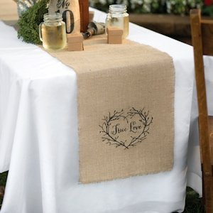 True Love Burlap Table Runner for Weddings image