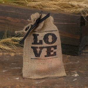 LOVE Burlap Bags for Wedding Favors (Set of 25) image