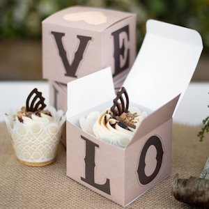 Rustic LOVE Wedding Cupcake Boxes (Set of 25) image