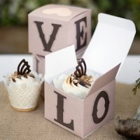 Rustic LOVE Wedding Cupcake Boxes (Set of 25)