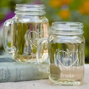 Mr and Mrs Rustic Wedding Toasting Glasses (Mason Jars) image