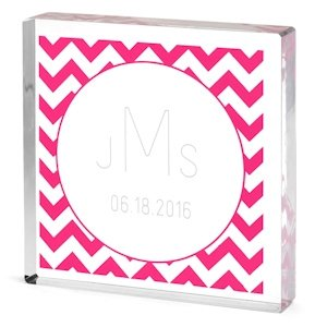 Monogrammed Wedding Cake Topper - Chevron Pattern image