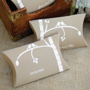 Personalized Love Bird Pillow Boxes (Set of 25) image