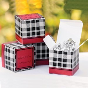 Personalized Gingham Country Wedding Favor Box (Set of 50) image
