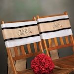 Mr and Mrs Burlap Wedding Chair Sashes